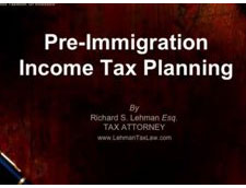 Pre Immigration Income Tax Planning